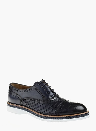 Divarese %100 Deri Bağcıklı Klasik Ayakkabı Lacivert
